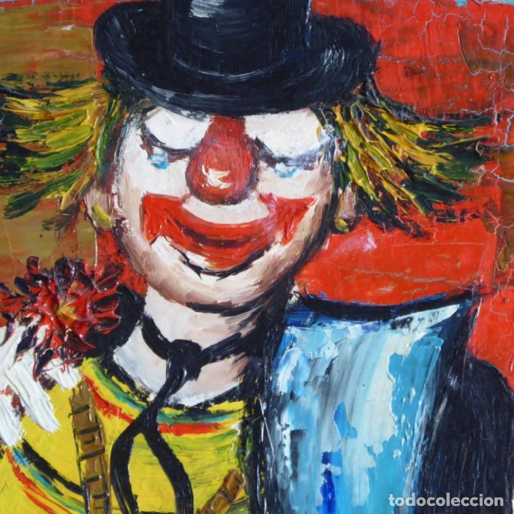 Arte: Bonito y divertido oleo sobre lienzo de payaso en el circo. Firmado y dedicado. Siglo XX. Enmarcado. - Foto 7 - 194306880