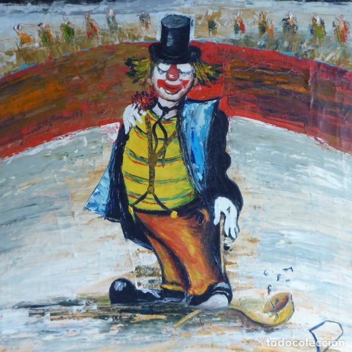 Arte: Bonito y divertido oleo sobre lienzo de payaso en el circo. Firmado y dedicado. Siglo XX. Enmarcado. - Foto 8 - 194306880