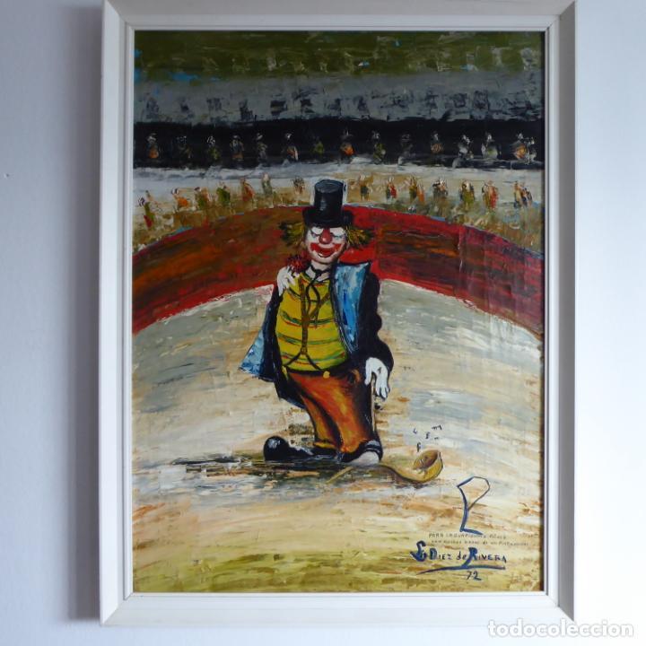 BONITO Y DIVERTIDO OLEO SOBRE LIENZO DE PAYASO EN EL CIRCO. FIRMADO Y DEDICADO. SIGLO XX. ENMARCADO. (Arte - Arte Religioso - Pintura Religiosa - Oleo)