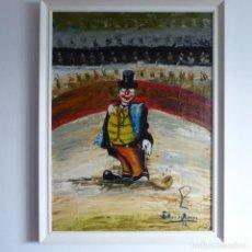 Arte: BONITO Y DIVERTIDO OLEO SOBRE LIENZO DE PAYASO EN EL CIRCO. FIRMADO Y DEDICADO. SIGLO XX. ENMARCADO.. Lote 194306880