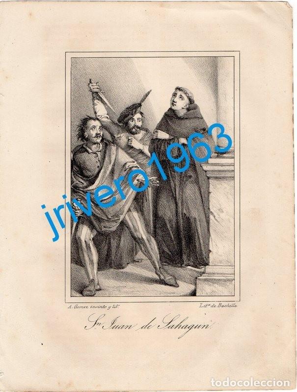 LITOGRAFIA DEL SIGLO XIX, SAN JUAN DE SAHAGUN, LIT.BACHILLER, 16X21 CMS (Arte - Arte Religioso - Litografías)