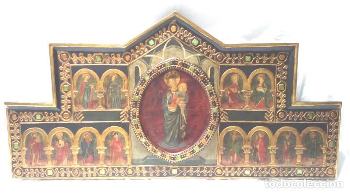 RETABLO VIRGEN MARIA NIÑO JESUS Y SANTOS ESTILO GÓTICO, OLEO SOBRE MADERA, DORADOS PAN DE ORO (Arte - Arte Religioso - Retablos)