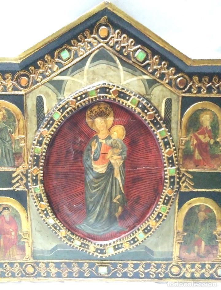 Arte: Retablo Virgen Maria Niño Jesus y Santos estilo Gótico, Oleo sobre madera, dorados pan de oro - Foto 2 - 245094645