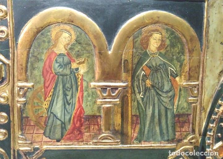 Arte: Retablo Virgen Maria Niño Jesus y Santos estilo Gótico, Oleo sobre madera, dorados pan de oro - Foto 3 - 245094645