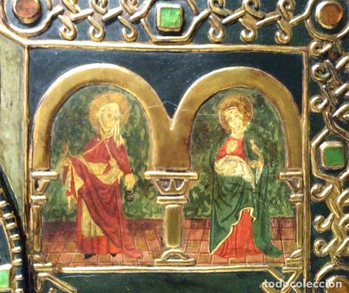 Arte: Retablo Virgen Maria Niño Jesus y Santos estilo Gótico, Oleo sobre madera, dorados pan de oro - Foto 5 - 245094645
