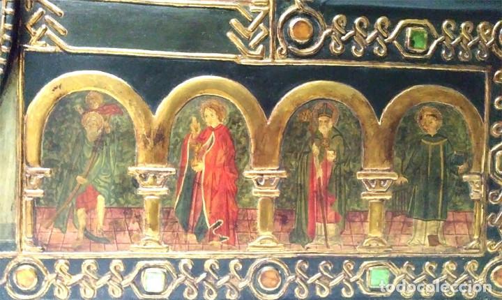 Arte: Retablo Virgen Maria Niño Jesus y Santos estilo Gótico, Oleo sobre madera, dorados pan de oro - Foto 6 - 245094645