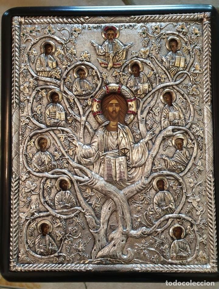 RÉPLICA DE ICONO BIZANTINO DE PLATA 950-999 (Arte - Arte Religioso - Iconos)