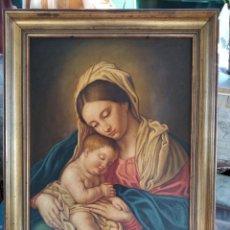 Arte: VIRGEN MARIA CON NIÑO. OLEO SOBRE LIENZO 63X43. CON MARCO 74X54.. Lote 194361166