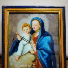 Arte: ANTIGUO ÓLEO SOBRE CRISTAL VIRGEN DEL ROSARIO CON NIÑO JESÚS, ENMARCADA, S.XIX. 32X26CM.. Lote 194383266
