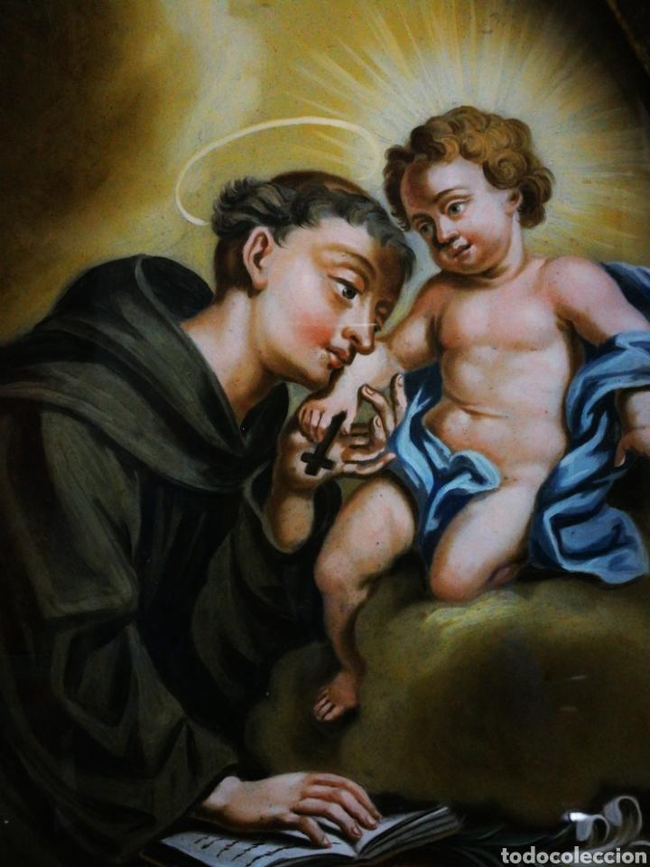 Arte: INCREÍBLE ÓLEO SOBRE CRISTAL SAN ANTONIO DE PÁDUA, S. XVIII-XIX, ENMARCADO. 50X39CM. - Foto 2 - 194388720