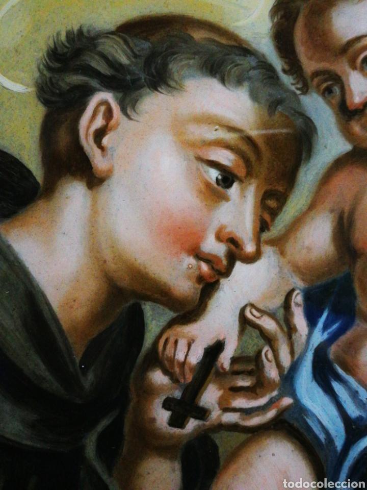 Arte: INCREÍBLE ÓLEO SOBRE CRISTAL SAN ANTONIO DE PÁDUA, S. XVIII-XIX, ENMARCADO. 50X39CM. - Foto 3 - 194388720