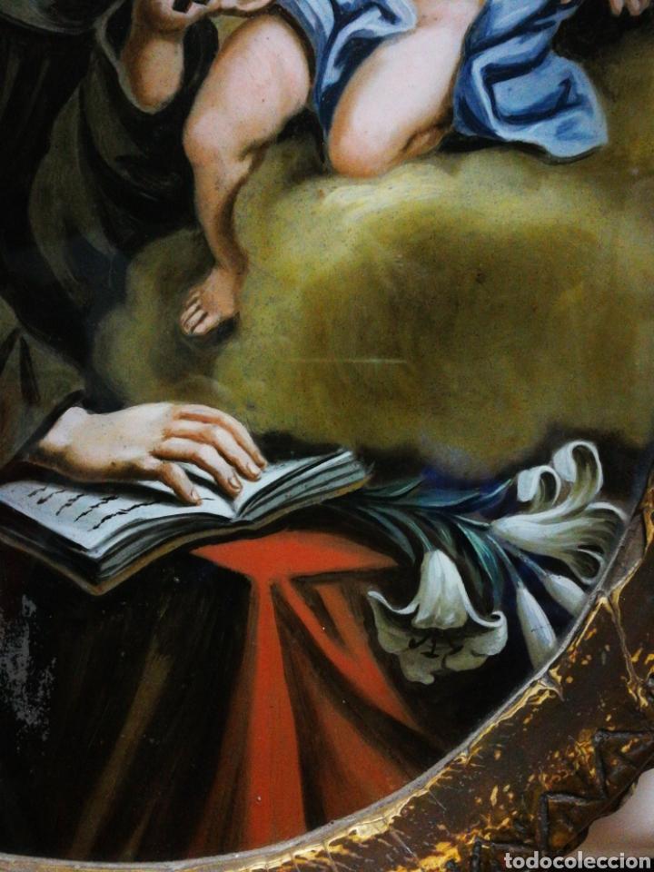 Arte: INCREÍBLE ÓLEO SOBRE CRISTAL SAN ANTONIO DE PÁDUA, S. XVIII-XIX, ENMARCADO. 50X39CM. - Foto 5 - 194388720