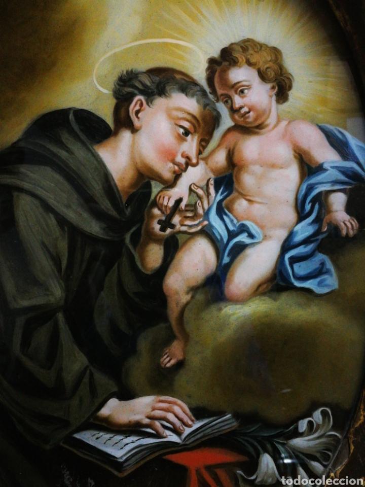 Arte: INCREÍBLE ÓLEO SOBRE CRISTAL SAN ANTONIO DE PÁDUA, S. XVIII-XIX, ENMARCADO. 50X39CM. - Foto 8 - 194388720