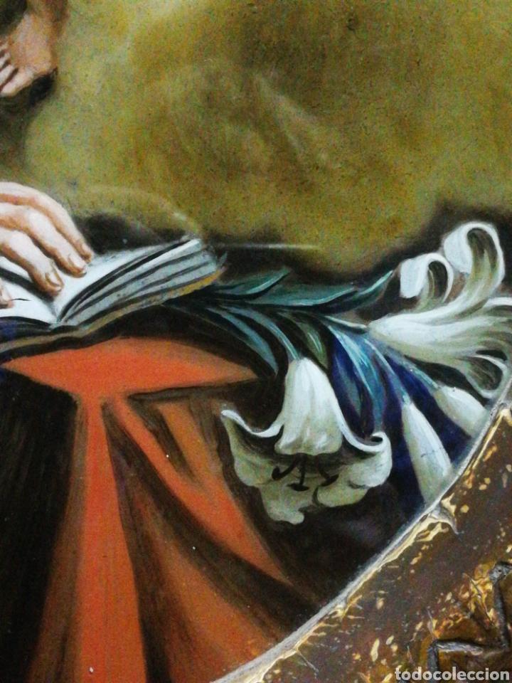 Arte: INCREÍBLE ÓLEO SOBRE CRISTAL SAN ANTONIO DE PÁDUA, S. XVIII-XIX, ENMARCADO. 50X39CM. - Foto 10 - 194388720