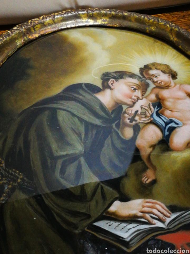 Arte: INCREÍBLE ÓLEO SOBRE CRISTAL SAN ANTONIO DE PÁDUA, S. XVIII-XIX, ENMARCADO. 50X39CM. - Foto 12 - 194388720