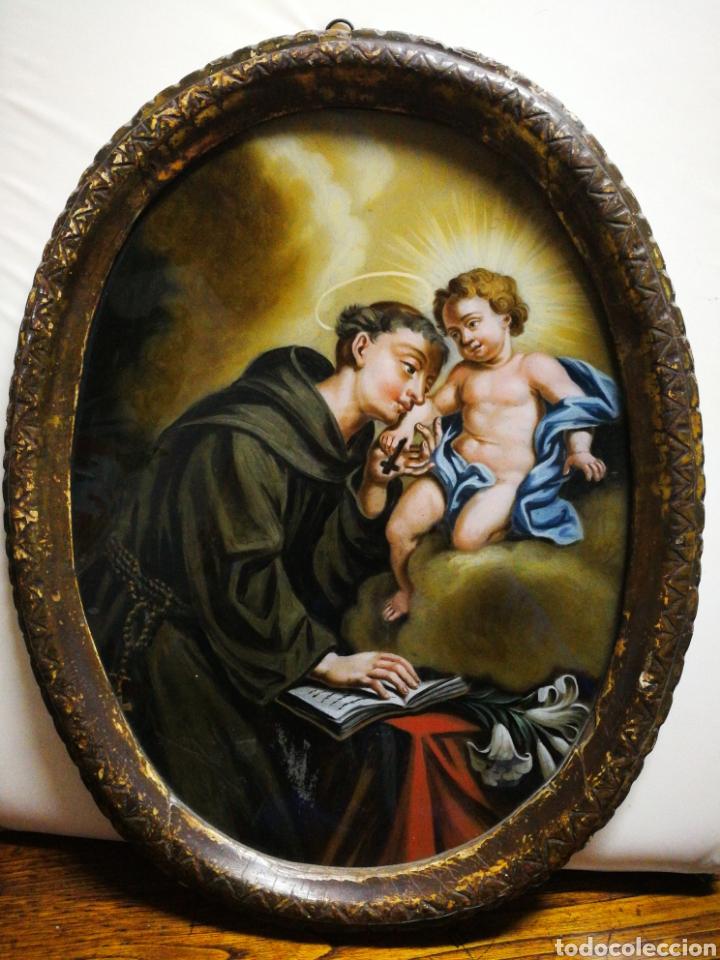 Arte: INCREÍBLE ÓLEO SOBRE CRISTAL SAN ANTONIO DE PÁDUA, S. XVIII-XIX, ENMARCADO. 50X39CM. - Foto 15 - 194388720