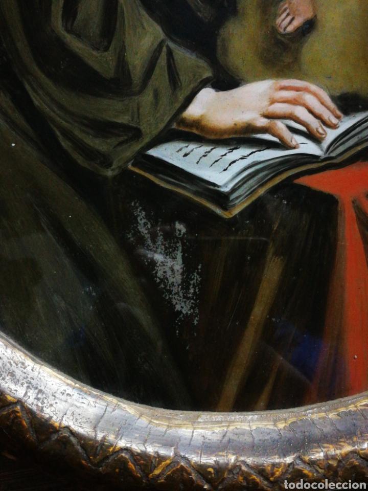 Arte: INCREÍBLE ÓLEO SOBRE CRISTAL SAN ANTONIO DE PÁDUA, S. XVIII-XIX, ENMARCADO. 50X39CM. - Foto 16 - 194388720