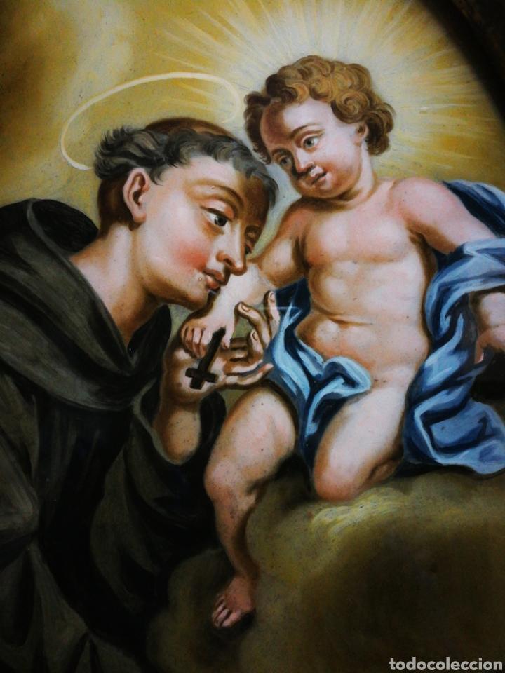 Arte: INCREÍBLE ÓLEO SOBRE CRISTAL SAN ANTONIO DE PÁDUA, S. XVIII-XIX, ENMARCADO. 50X39CM. - Foto 19 - 194388720