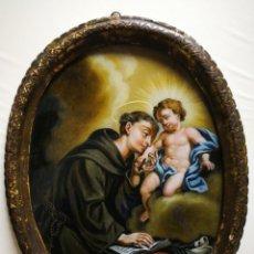 Arte: INCREÍBLE ÓLEO SOBRE CRISTAL SAN ANTONIO DE PÁDUA, S. XVIII-XIX, ENMARCADO. 50X39CM.. Lote 194388720