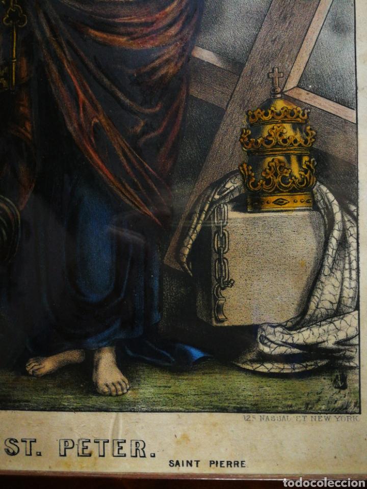 Arte: ANTIGUA LÁMINA LITOGRAFÍA COLOREADA SAN PEDRO (ST. PETER) S. XIX, ENMARCADA. 41X32CM. - Foto 6 - 194391836