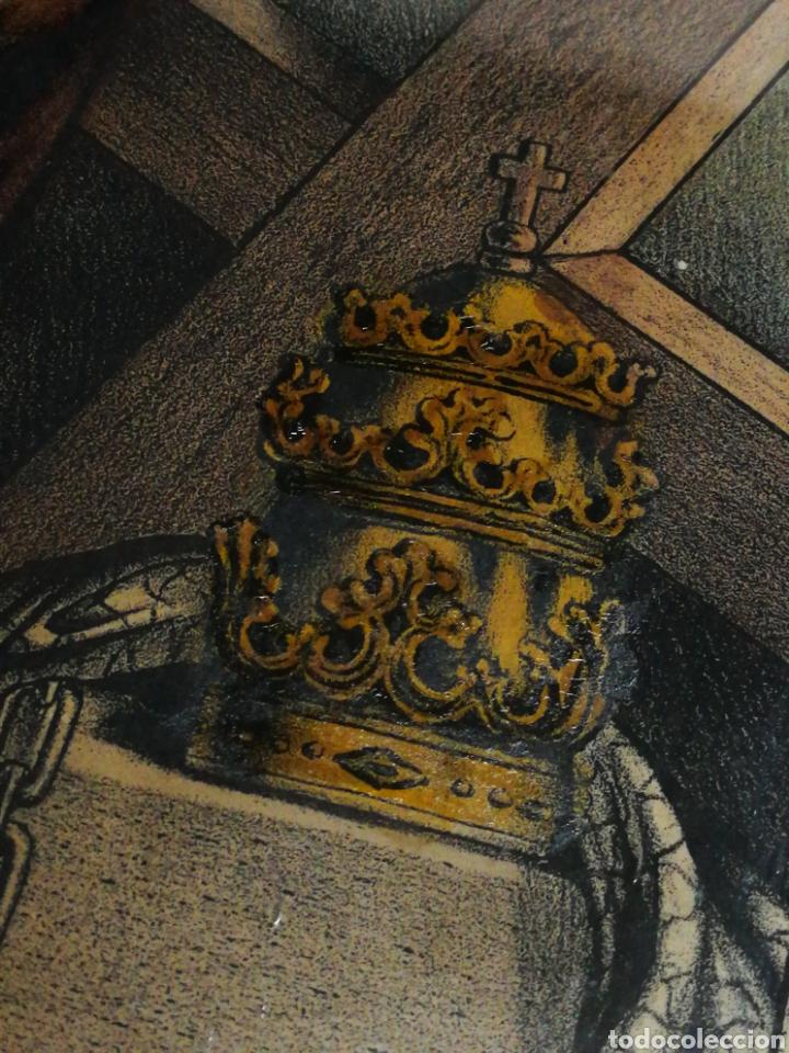Arte: ANTIGUA LÁMINA LITOGRAFÍA COLOREADA SAN PEDRO (ST. PETER) S. XIX, ENMARCADA. 41X32CM. - Foto 8 - 194391836