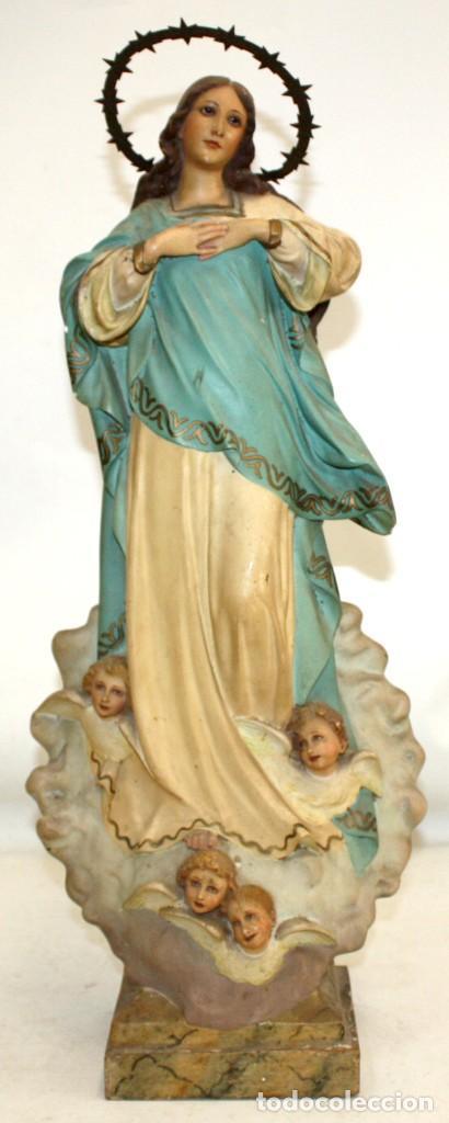PRECIOSA VIRGEN EN PASTA DE MADERA DE LAS ARTES DECORATIVAS DE PEDRO LLORET (OLOT) (Arte - Arte Religioso - Escultura)
