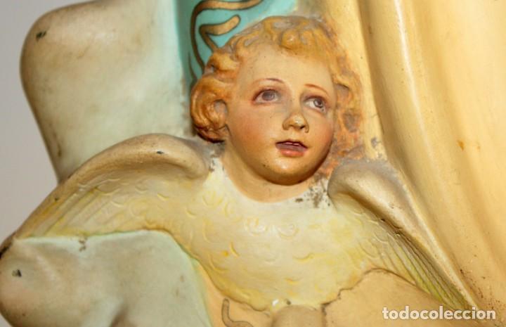 Arte: PRECIOSA VIRGEN EN PASTA DE MADERA DE LAS ARTES DECORATIVAS DE PEDRO LLORET (OLOT) - Foto 12 - 194404716