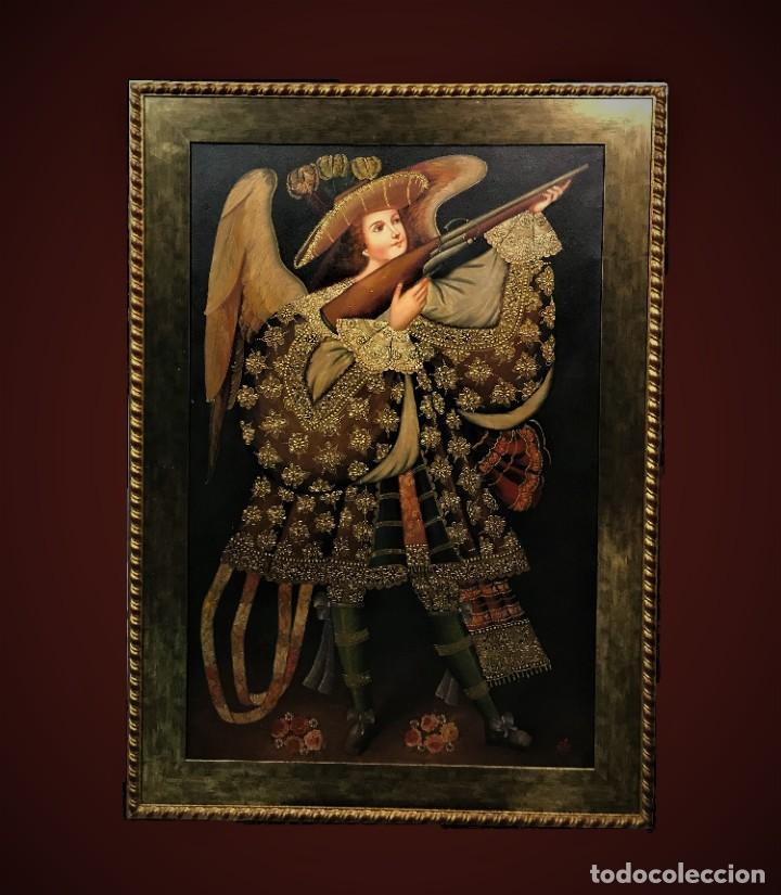ESPECTACULAR ANGEL ARCABUCERO GRAN FORMATO 148X108 CMS (Arte - Arte Religioso - Pintura Religiosa - Oleo)