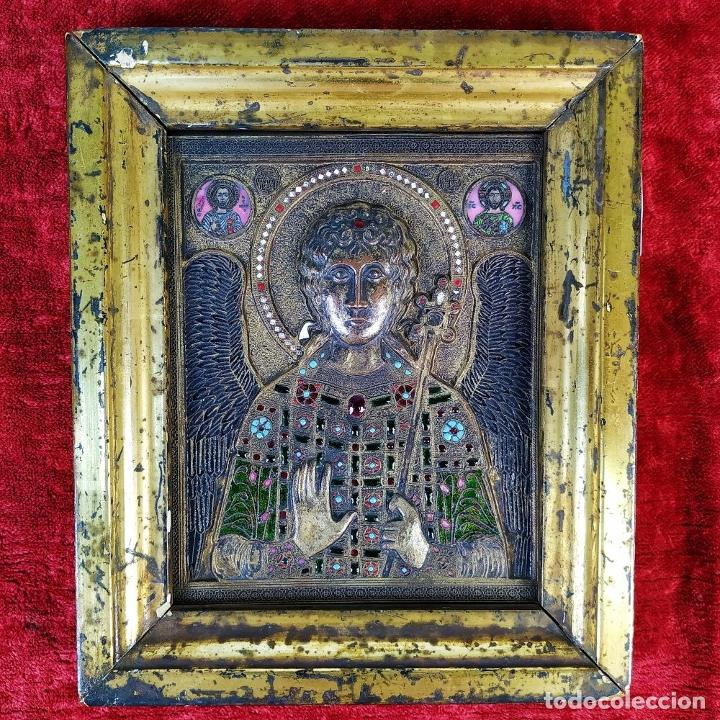 Arte: ICONO. EL ARCÁNGEL SAN MIGUEL. BRONCE CICELADO Y ESMALTADO. ESTILO BIZANTINO. RUSIA. XIX - Foto 18 - 168568128