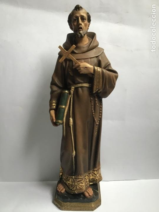 GRANDE Y MUY ANTIGUA FIGURA DE OLOT , SAN FRANCISCO DE ASIS , RARA DE VER (Arte - Arte Religioso - Escultura)