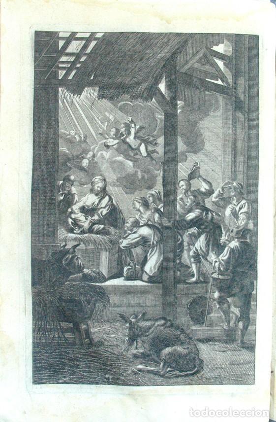 ANTIGUO GRABADO AL AGUAFUERTE. ESCENA DEL NACIMIENTO. 1732 (Arte - Arte Religioso - Grabados)