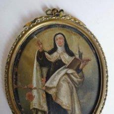 Arte: SANTA TERESA DE JESÚS, ÓLEO SOBRE COBRE, FINALES SIGLO XVII. Lote 194556507