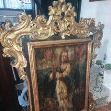 Arte: GRAN MARCO TALLADO EN PAN DE ORO CON INMACULADA OLEO LIENZO SOBRE MADERA 146 CM X 110 CM. Lote 194574493