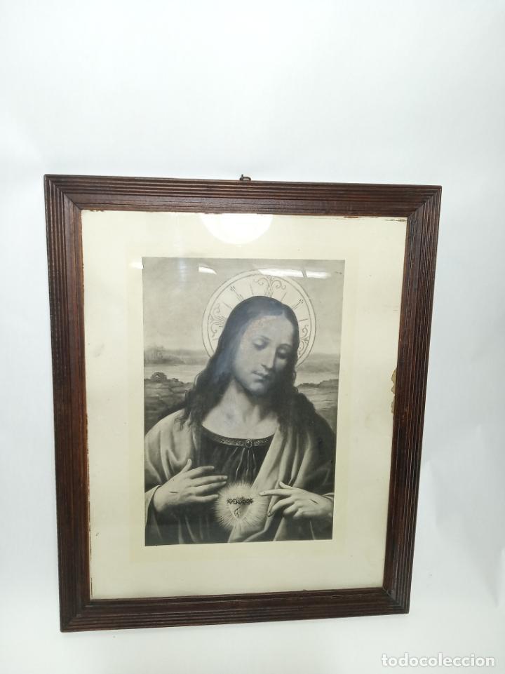 Arte: Muy bella litografía o grabado del sagrado corazón de Jesús. Estilo de artistas italianos. Da Vinci. - Foto 2 - 194623127