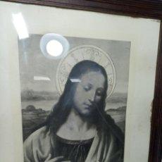 Arte: MUY BELLA LITOGRAFÍA O GRABADO DEL SAGRADO CORAZÓN DE JESÚS. ESTILO DE ARTISTAS ITALIANOS. DA VINCI.. Lote 194623127