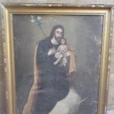 Arte: SAN JOSE CON NIÑO SOBRE LIENZO. Lote 194661070