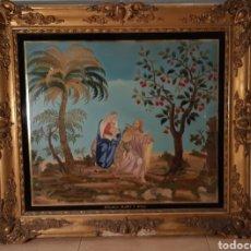 Arte: PRECIOSO Y MAGNÍFICO BORDADO DE LA HUIDA DE EGIPTO FINALES DEL SIGLO XIX. Lote 194684060