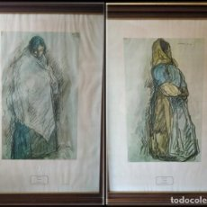 Arte: PAREJA DE GRABADOS SOBRE PAPEL. GITANAS. ISIDRO NONELL 1906. Lote 194689590