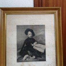 Arte: ANTIGUO GRABADO DE VELAZQUEZ SIGLO XIX (RETRATO DE UN ENANO) 80X50CM ENMARCADO. Lote 194694125
