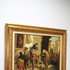 Arte: ÓLEO SOBRE LIENZO SEÑORAS DANDO LIMOSNAS FIRMADO POR R. TRUJILLO. Lote 194756471