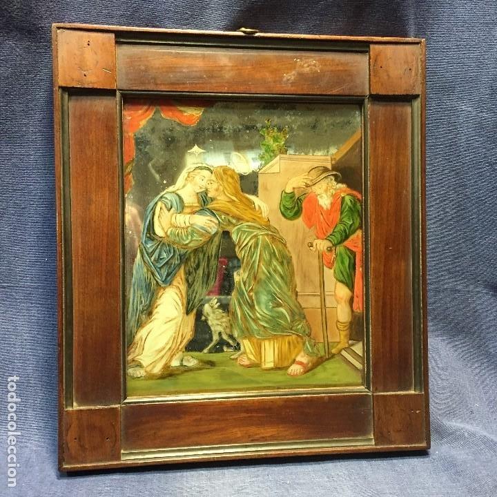 ESPEJO EGLOMIZADO PINTADO OLEO MARIA VISITA PRIMA ISABEL SXVIII 31X26CMS (Arte - Arte Religioso - Pintura Religiosa - Oleo)