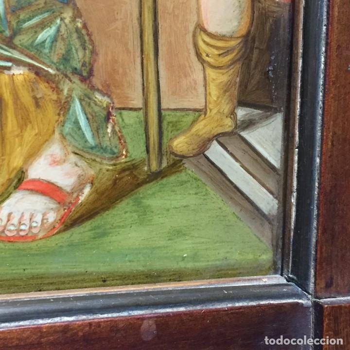 Arte: ESPEJO EGLOMIZADO PINTADO OLEO MARIA VISITA PRIMA ISABEL SXVIII 31X26CMS - Foto 8 - 194779516