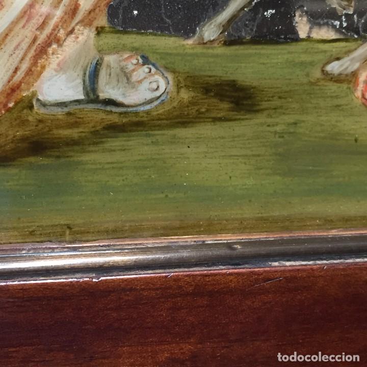 Arte: ESPEJO EGLOMIZADO PINTADO OLEO MARIA VISITA PRIMA ISABEL SXVIII 31X26CMS - Foto 10 - 194779516