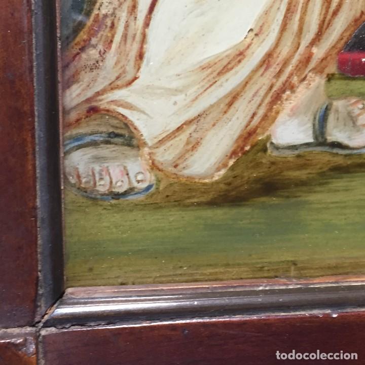 Arte: ESPEJO EGLOMIZADO PINTADO OLEO MARIA VISITA PRIMA ISABEL SXVIII 31X26CMS - Foto 11 - 194779516