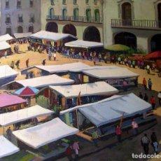 Arte: SADURNI; PLAZA MAYOR DE VIC (MERCAT) OLEO SOBRE LIENZO, 73X60. Lote 194785206