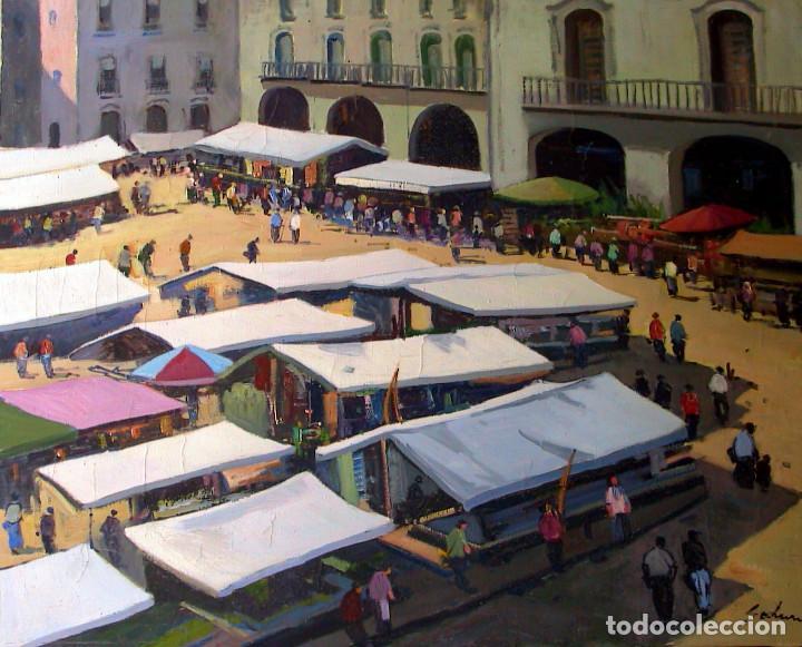 Arte: SADURNI; Plaza Mayor de VIC (MERCAT) Oleo sobre lienzo, 73X60 - Foto 2 - 194785206