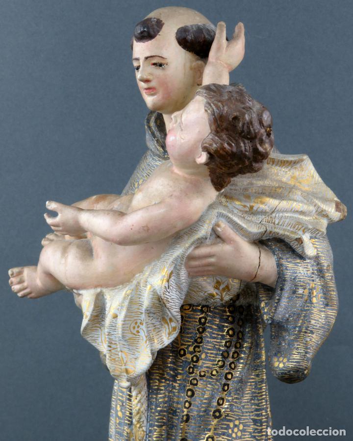 Arte: Talla San Antonio con el niño en madera tallada y policromada escuela andaluza siglo XVIII - Foto 5 - 194787013
