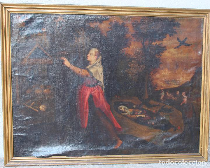 A-287. OLEO SOBRE LIENZO, ESCENA RELIGIOSA. S.XIX. (Arte - Arte Religioso - Pintura Religiosa - Oleo)
