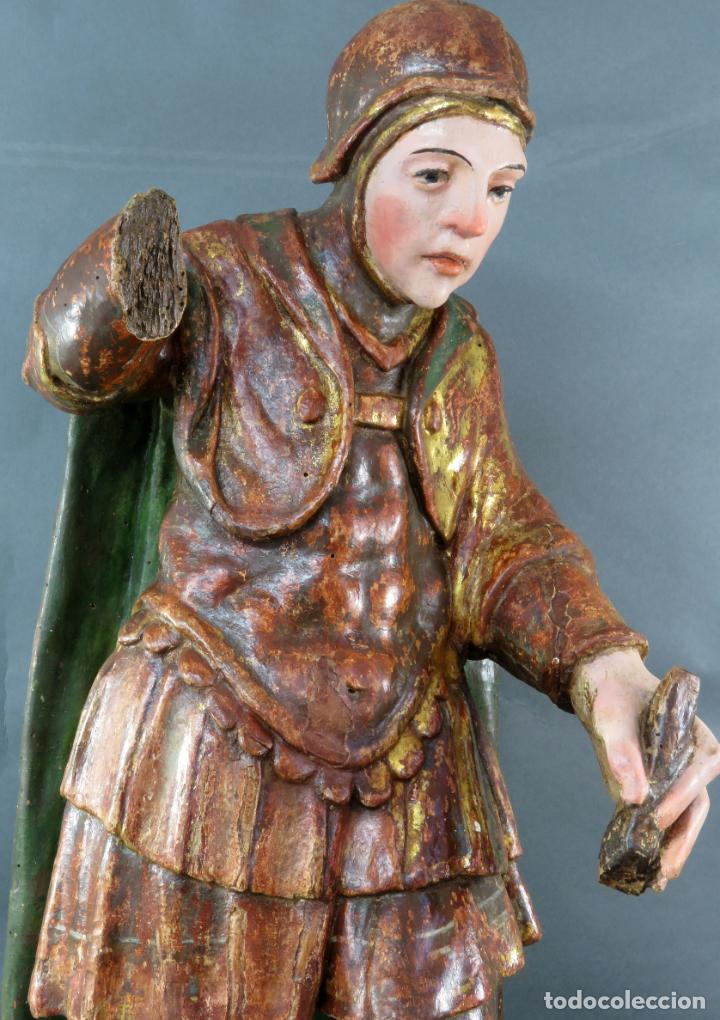 Arte: Talla San Miguel en madera tallada dorada y policromada escuela castellana finales del siglo XVI - Foto 2 - 194787448