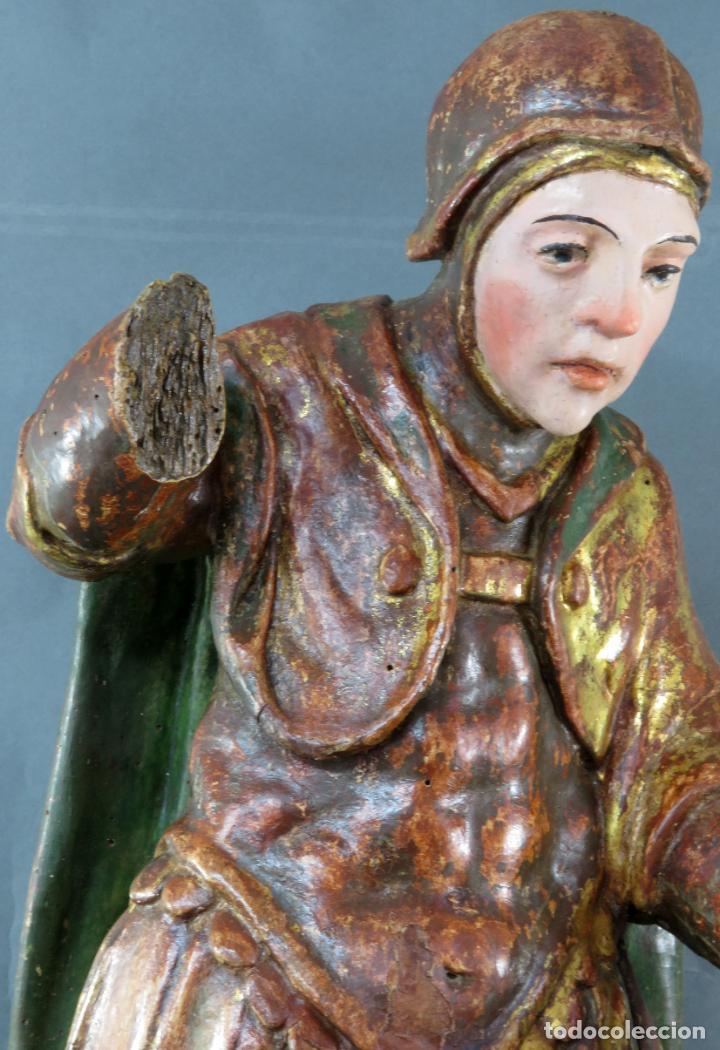 Arte: Talla San Miguel en madera tallada dorada y policromada escuela castellana finales del siglo XVI - Foto 3 - 194787448